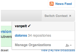 screenshot of Github's new context selector for organizations